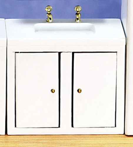 Dollhouse Miniature Kitchen Sink, White