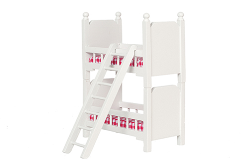 Dollhouse Miniature Bunk Beds with Ladder, White