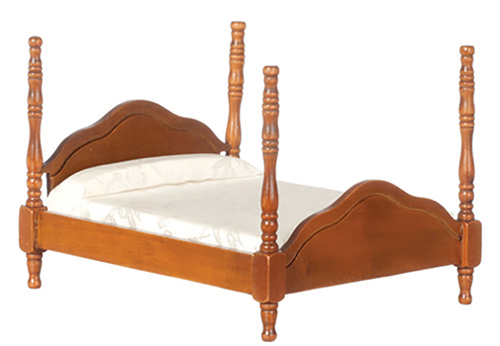 Dollhouse Miniature Cannonball Bed, Walnut, Assorted Fabric