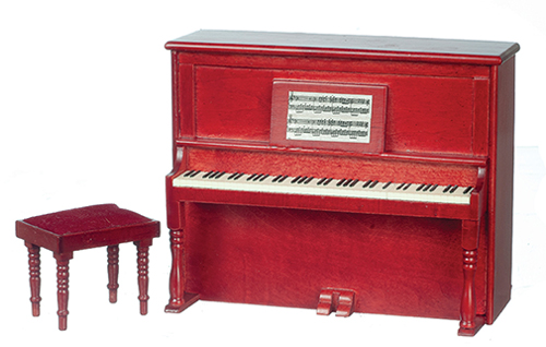 Dollhouse Miniature Piano, Non-Musical with Bench