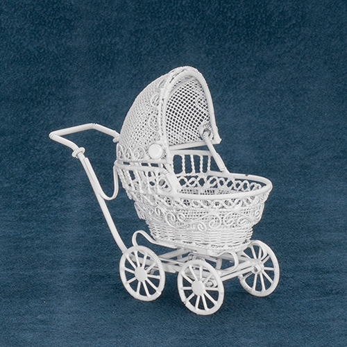 Dollhouse Miniature Small Baby Buggy, White
