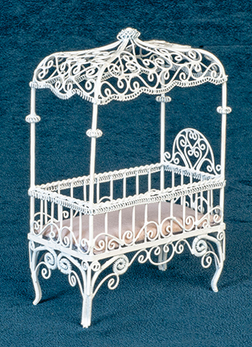 Dollhouse Miniature Baby Canopy Bed, White