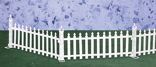 Dollhouse Miniature White Picket Fence, 6 Pc