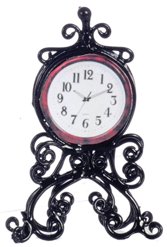 Dollhouse Miniature Mantle Clock, Black