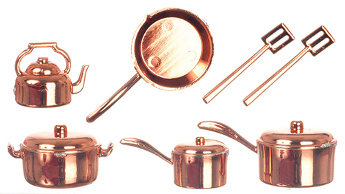 Dollhouse Miniature Copper Kitchenware,10Pc