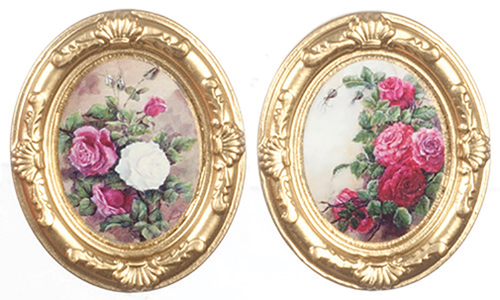 Dollhouse Miniature Gold Oval Frames, Flowers, 2 pc