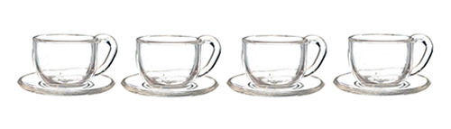 Dollhouse Miniature Cups and Saucers Set, 4pc