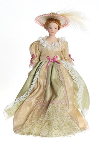 Dollhouse Miniature Victorian Lady In Beige Gown