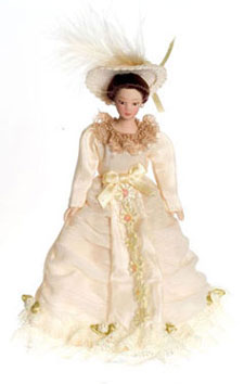 Dollhouse Miniature Victorian Lady In Peach Gown