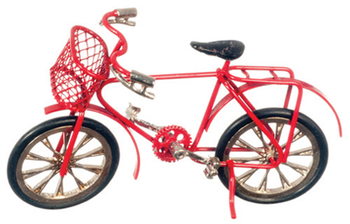 Dollhouse Miniature Child's Red Bicycle