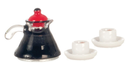 Dollhouse Miniature Coffee Pot and 2 Cups Coffee