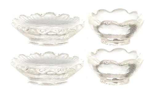 Dollhouse Miniature2 Glass Bowls And 2 Plates