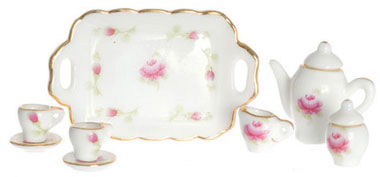 Dollhouse Miniature Tea Set, 10 Pc, Pink and Green