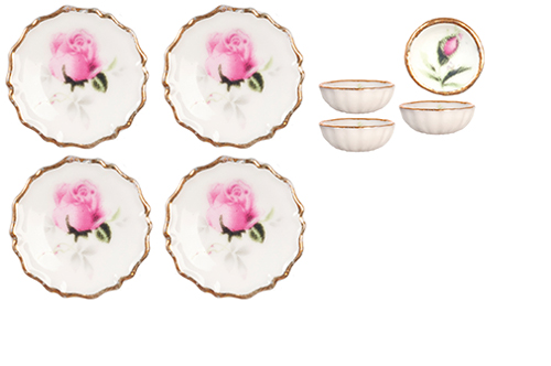 Dollhouse Miniature Pink Rose Bowls and Plates, 8pc