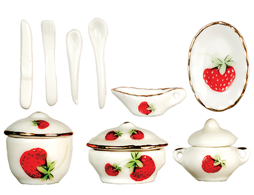 Dollhouse Miniature Strawberry Dinnerware Set, 12pc
