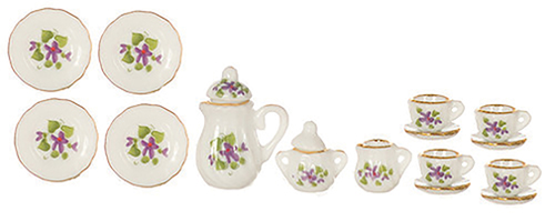 Dollhouse Miniature Floral China Set, 17 Pc
