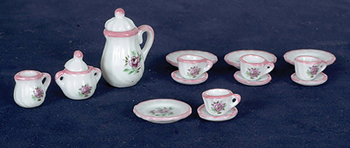 Dollhouse Miniature Pink China Set, 17 pc
