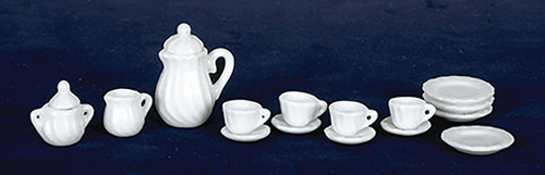 Dollhouse Miniature White China Set, 17 pc
