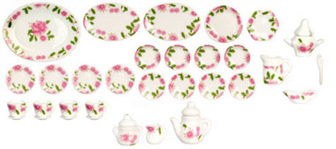 Dollhouse Miniature Rose Dinner Set, 32 Pcs