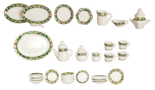 Dollhouse Miniature Tea Set, 35 Pcs