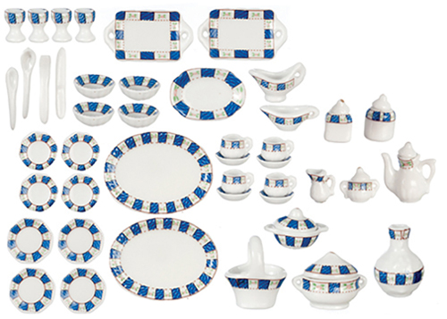 Dollhouse Miniature Blue Trim Tea Set, 50 Pcs
