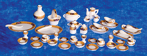 Dollhouse Miniature Tea Set, 50 Pcs