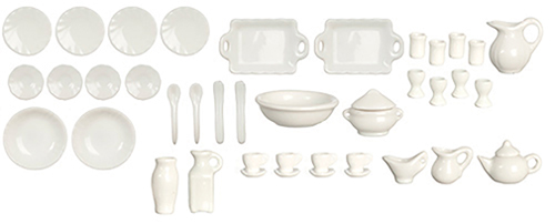 Dollhouse Miniature White Porcelain Dinner Set, 42 Pcs