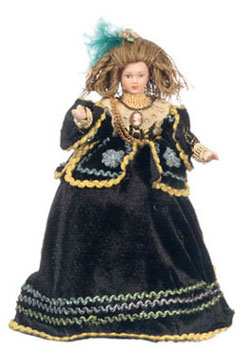 "Dollhouse Miniature6"" Doll with Black Dress"