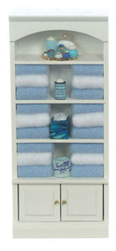 Dollhouse Miniature Bathroom Cupboard Filled, Blue