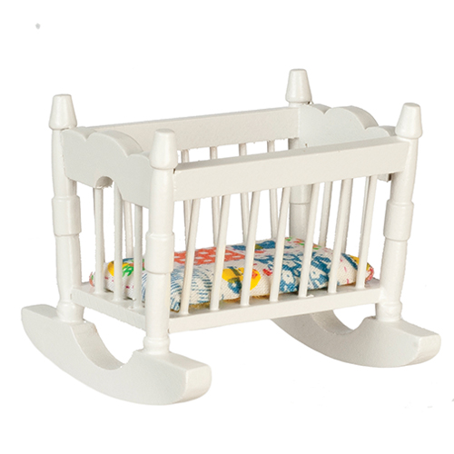 Dollhouse Miniature Rocking Cradle, White