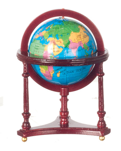 Dollhouse Miniature World Globe, Mahogany
