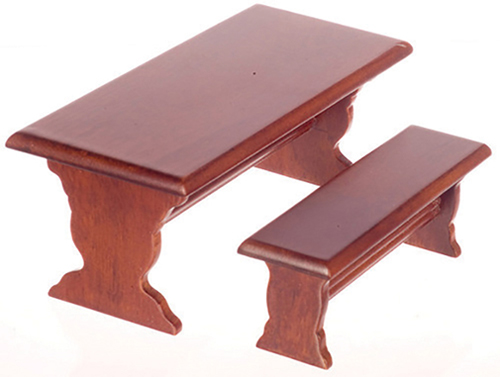 Dollhouse Miniature Table with Bench, 3 Pc
