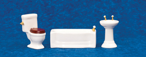 Dollhouse Miniature Modern Bath Set, 3 Pc, White