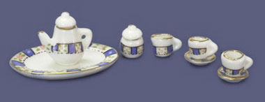 Dollhouse Miniature Tea Set, 10 Pc, Navy