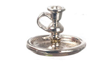 Dollhouse Miniature Night Candleholder, Silver