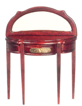 Dollhouse Miniature Half Round Table with Mirror