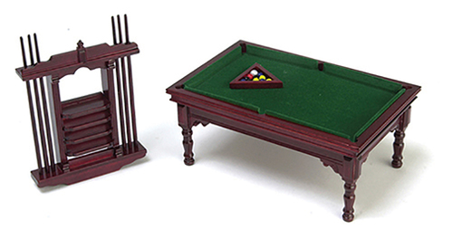 Dollhouse Miniature Pool Table Set, Mahogany