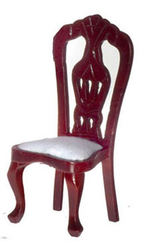 Dollhouse Miniature Side Chair, Mahogany