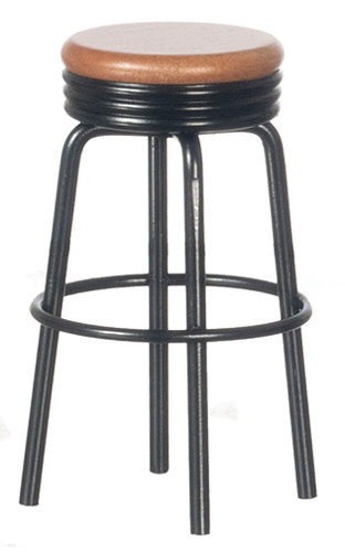 Dollhouse Miniature1950'S Stool, Black and Oak