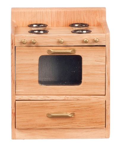 Dollhouse Miniature Kitchen Stove, Oak