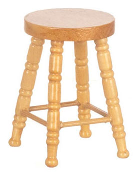 Dollhouse Miniature Wooden Stool, Oak