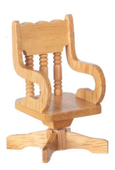 Dollhouse Miniature Swivel Desk Chair, Oak