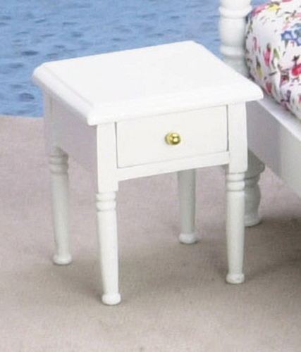 Dollhouse Miniature Nightstand, White