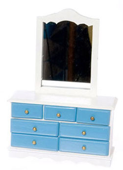 Dollhouse Miniature Dresser with Mirror, White