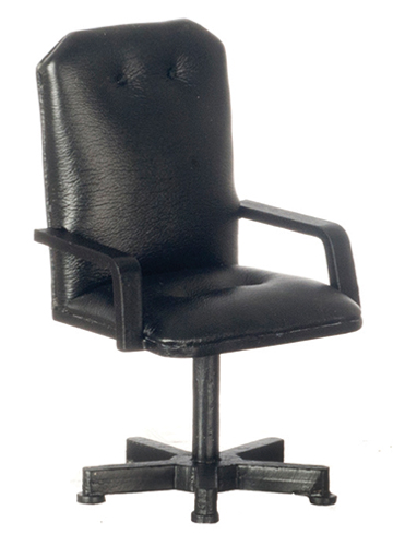 Dollhouse Miniature Desk Chair, Black