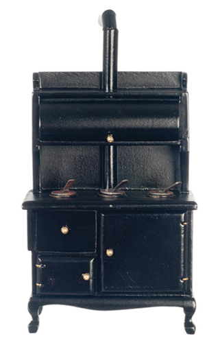 Dollhouse Miniature Woodstove, Black