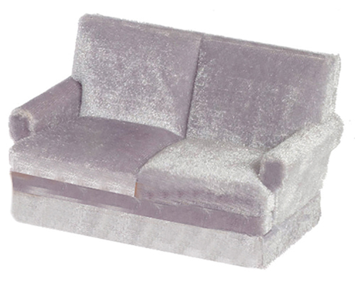 Dollhouse Miniature Traditional Love Seat, Gray, Walnut