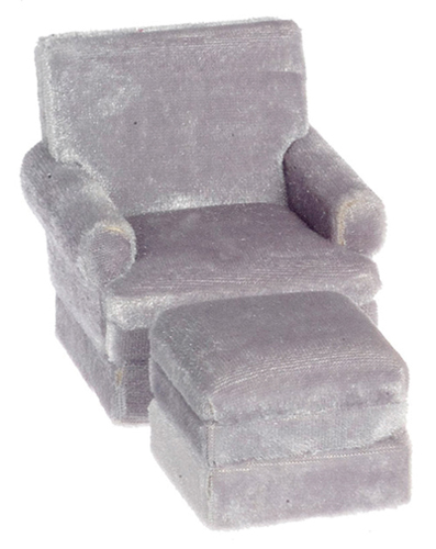 Dollhouse Miniature Traditional Chair, Ottoman, Gray, Walnut