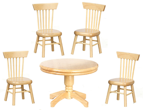 Dollhouse Miniature Kitchen Table & Chairs, Oak 5Pc
