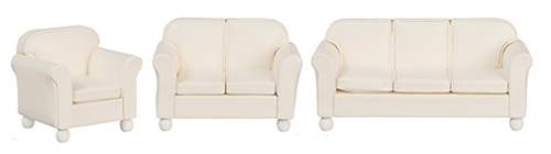 Dollhouse Miniature Cream Leather Living Room, 3Pc